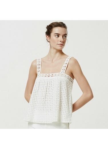 Yargıcı Kadın Brode Askılı Bluz 0YKGM6130X Beyaz